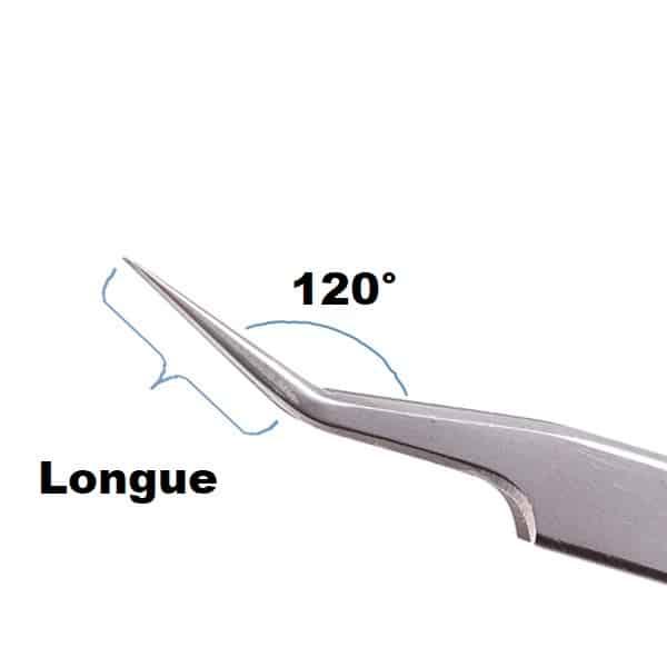 Pince extensions de cils semi courbée 120°
